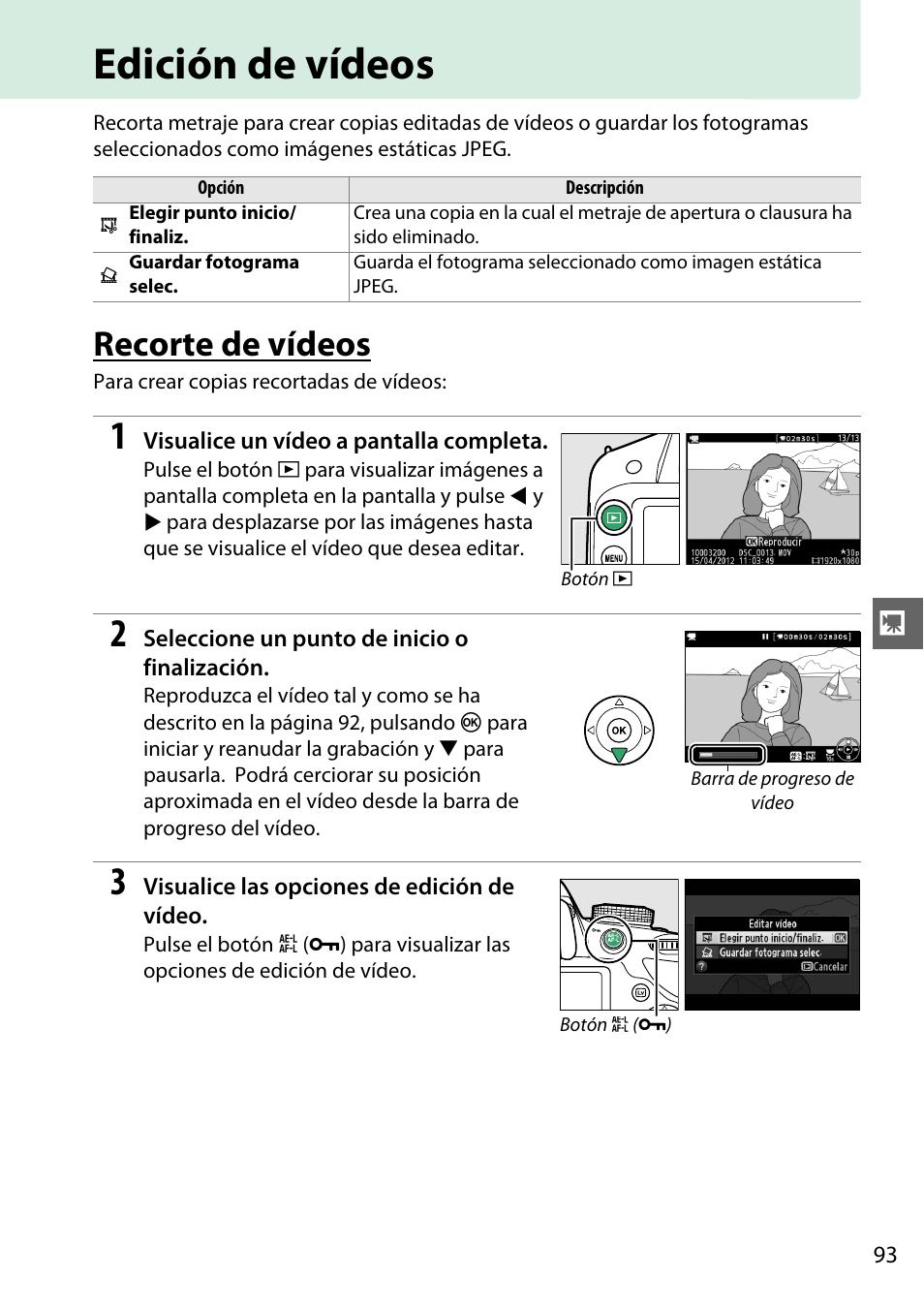 Edición de vídeos, Recorte de vídeos | Nikon D3200 Manual del ...