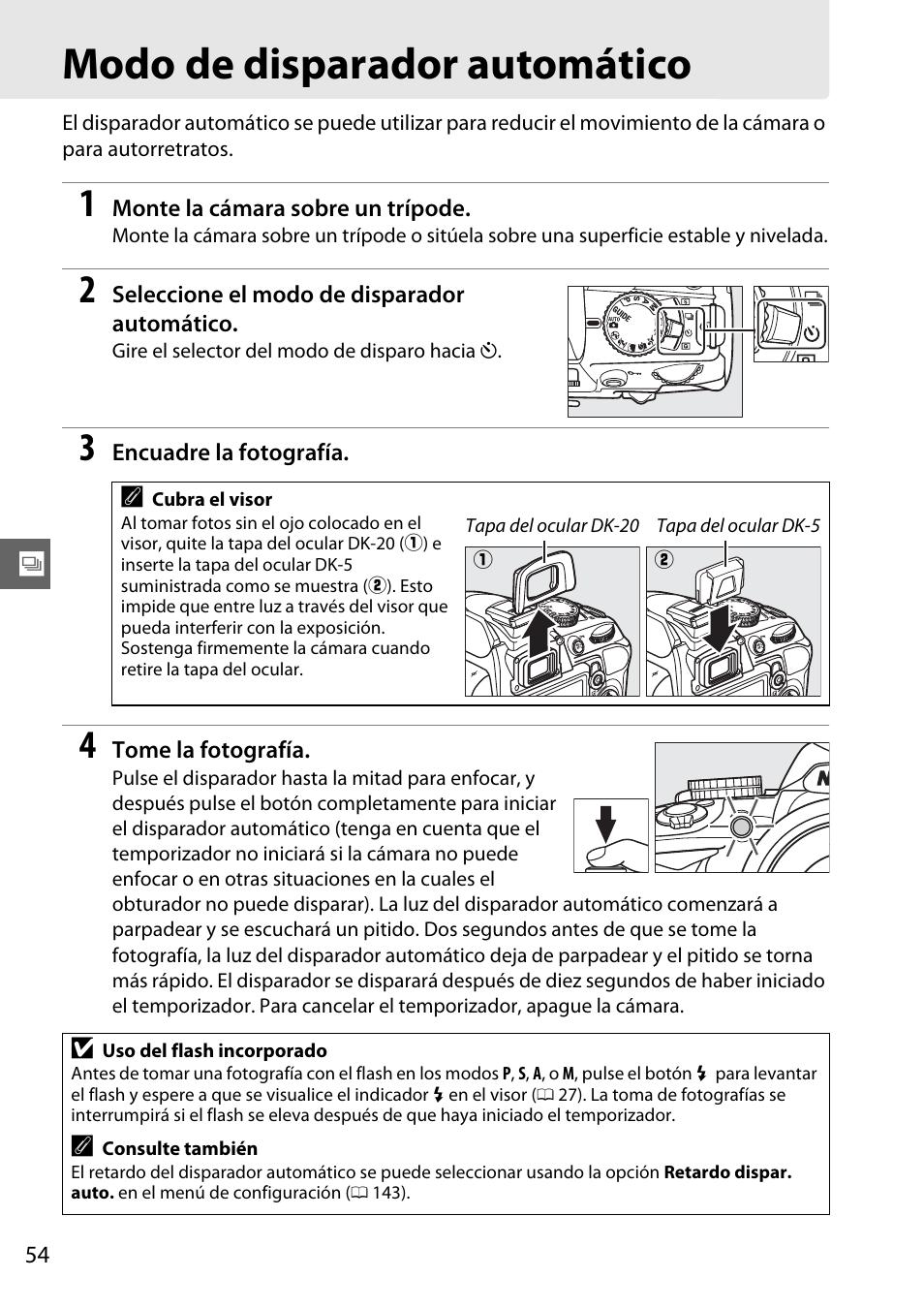 Modo de disparador automático | Nikon D3100 Manual del usuario | Página 70  / 224