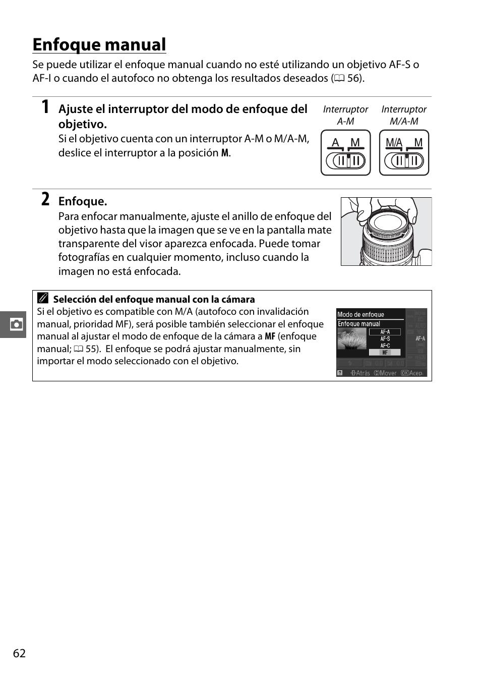 enfoque manual nikon d3100 manual del usuario p gina 78 224 rh pdfmanuales com Manual Focus Nikon D3100 Manual Mode Nikon D3100