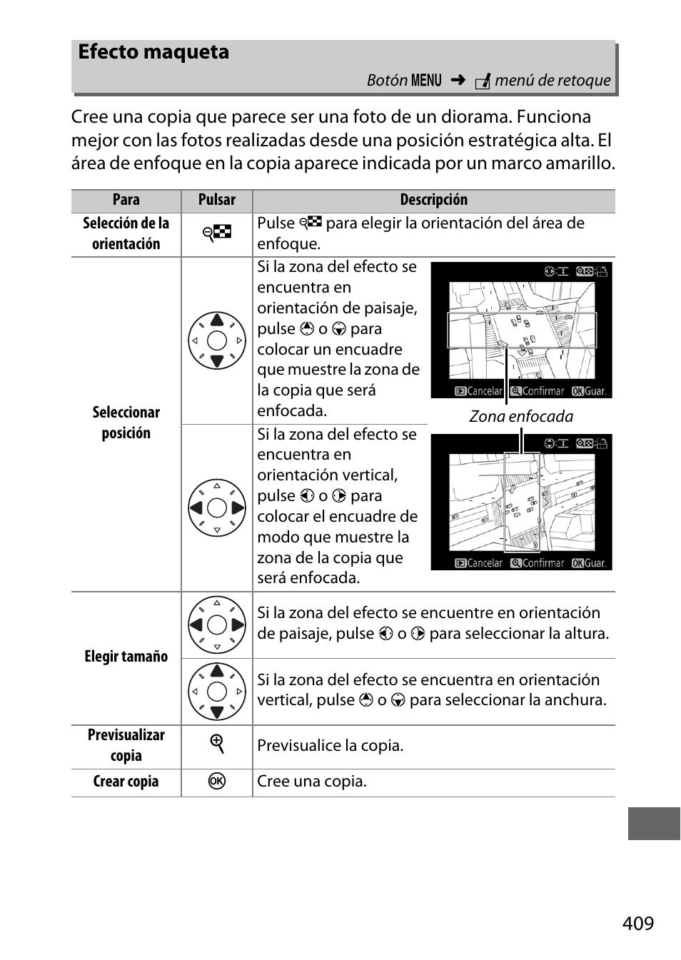 Efecto maqueta | Nikon D810 Manual del usuario | Página 433 / 530 ...
