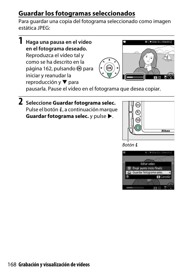 Guardar los fotogramas seleccionados | Nikon D3300 Manual del ...