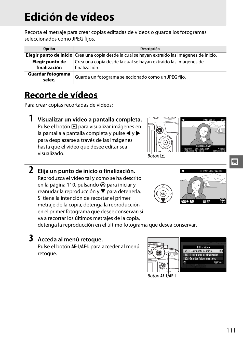 Edición de vídeos, Recorte de vídeos | Nikon D5100 Manual del ...