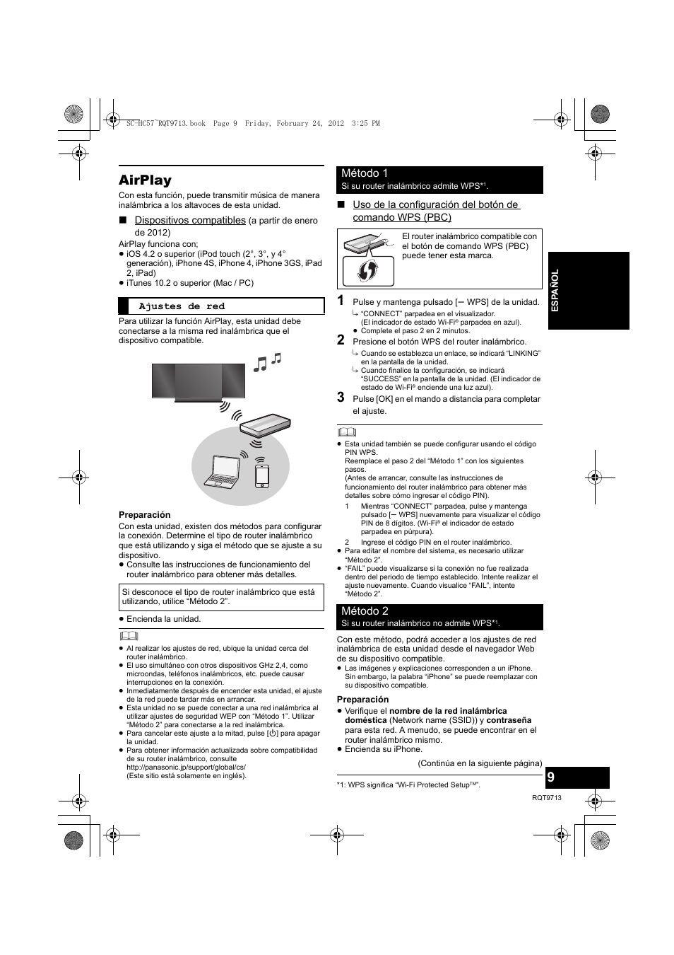 Airplay, Método 1, Método 2 | Panasonic SCHC57EG Manual del
