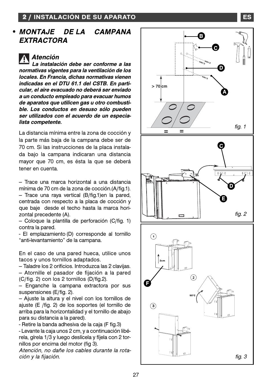 Montaje de la campana extractora atenci n fagor cfb - Instalacion campana extractora ...