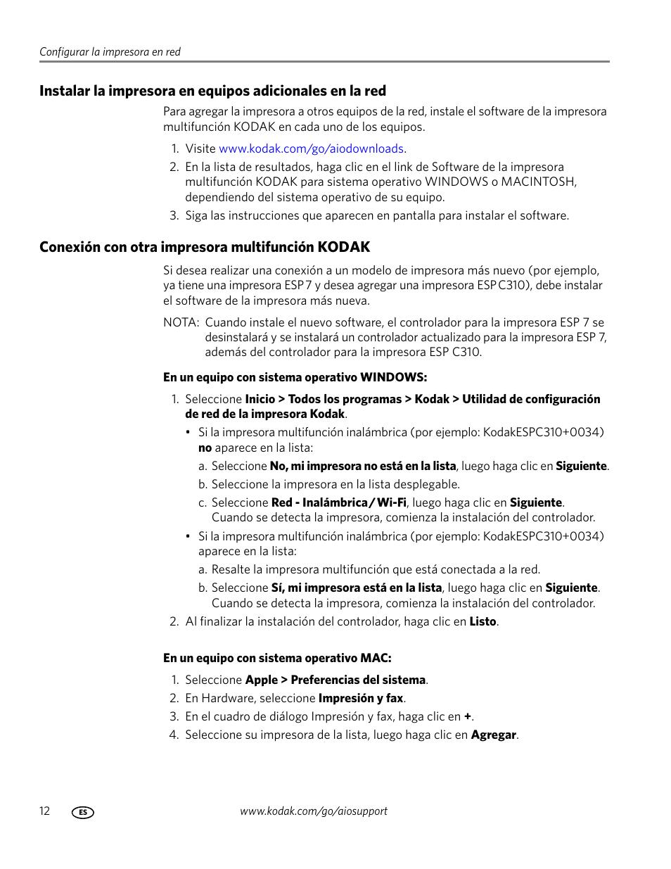 conexi n con otra impresora multifunci n kodak kodak esp c310 rh pdfmanuales com