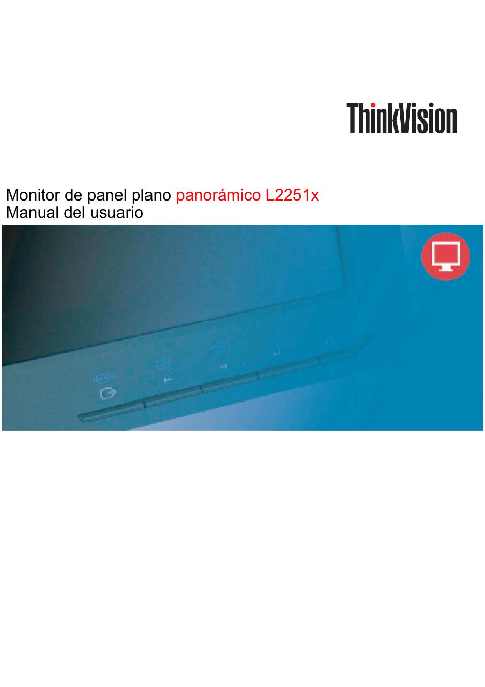 lenovo thinkvision l2251x wide 22in lcd monitor manual del usuario rh pdfmanuales com Lenovo ThinkVision LT1423 Release Date ThinkVision Lenovo 4431-Hb2