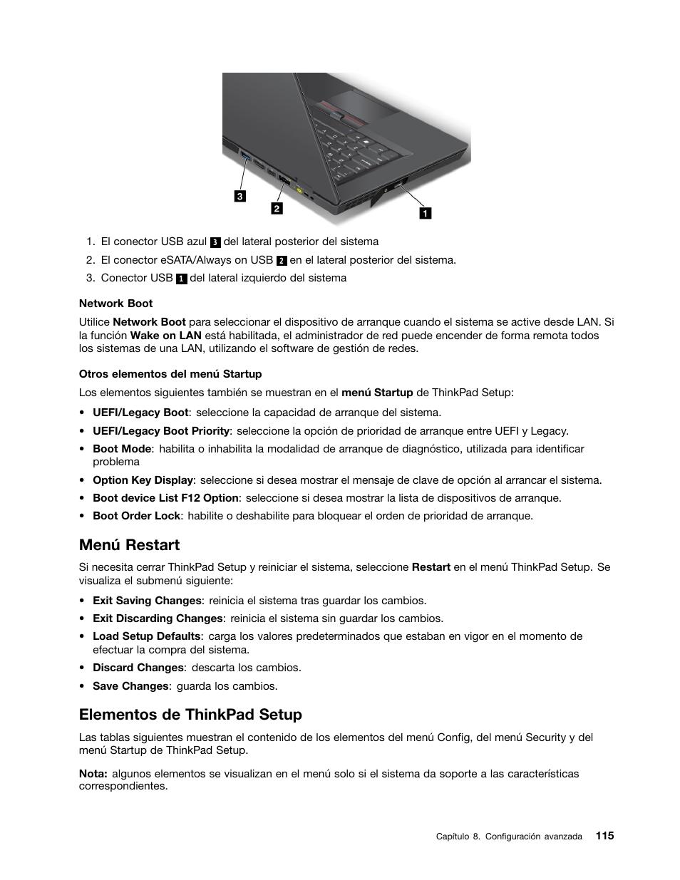 Menú restart, Elementos de thinkpad setup | Lenovo IdeaPad U300e ...
