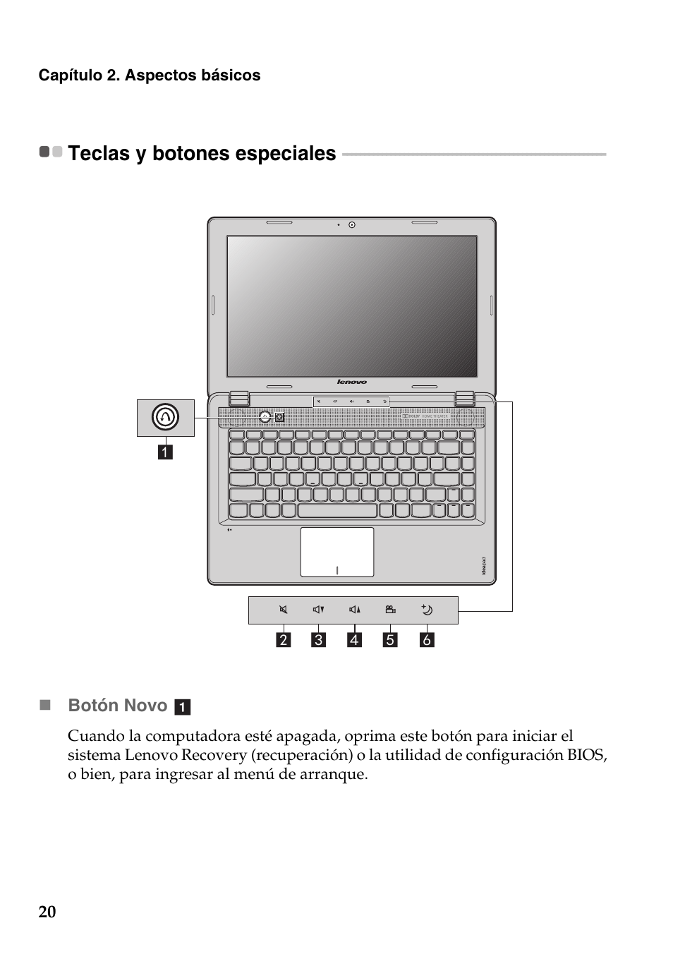 Teclas y botones especiales | Lenovo IdeaPad Z485 Notebook Manual