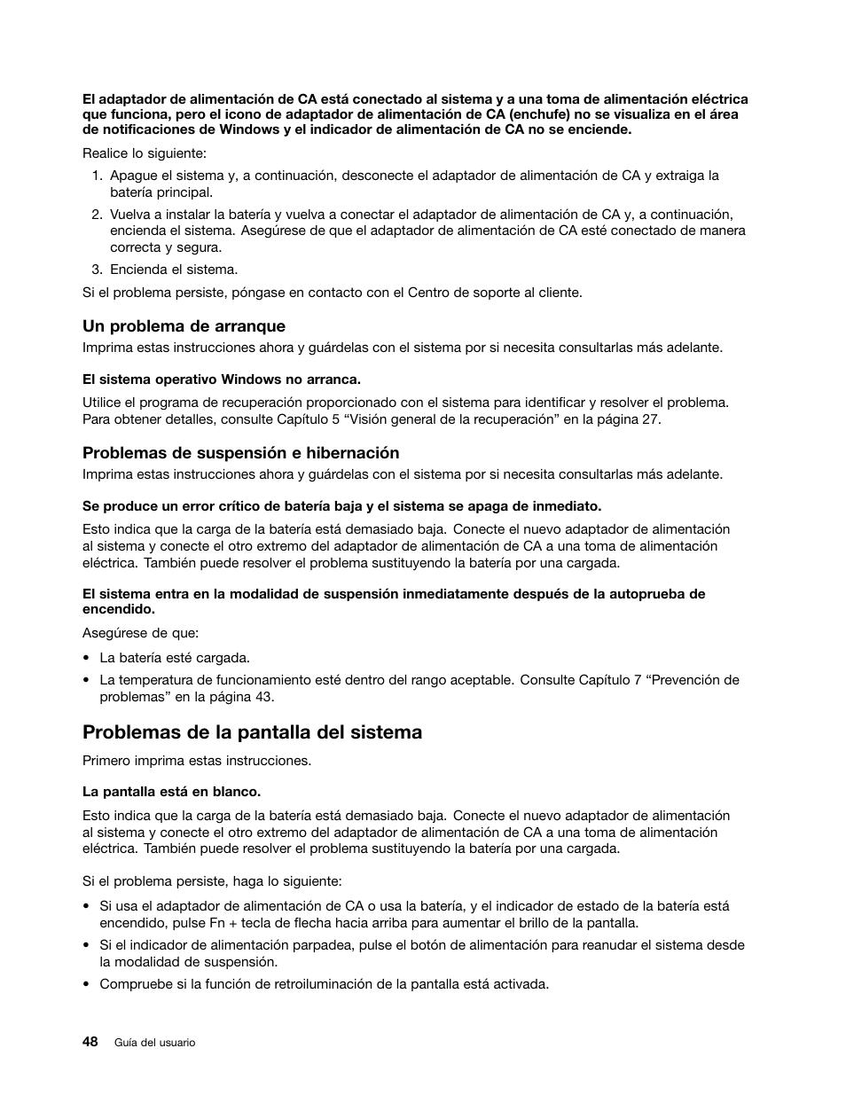 Problemas de la pantalla del sistema | Lenovo M490s notebook Manual ...