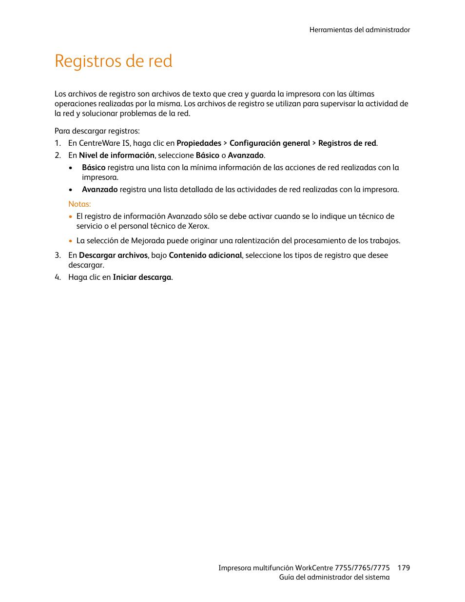 Registros de red | Xerox WorkCentre 7755-7765-7775 con EFI
