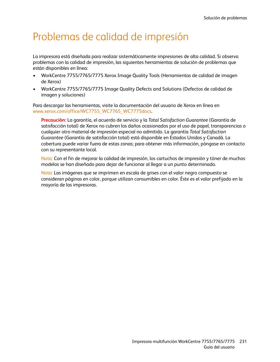 Problemas de calidad de impresión | Xerox WorkCentre 7755