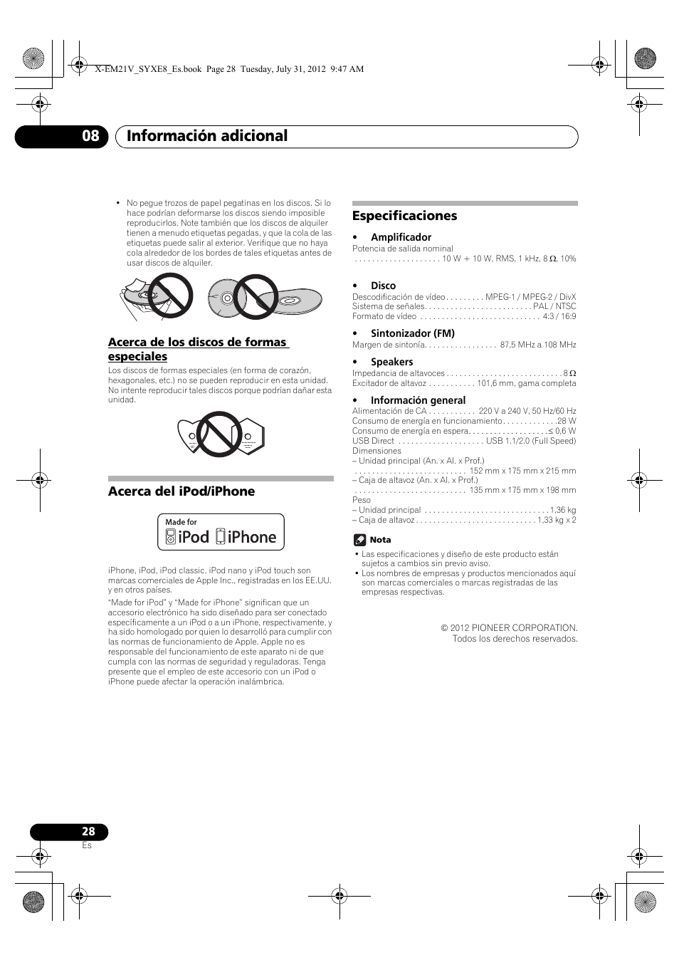 Acerca de los discos de formas especiales, Acerca del ipod/iphone ...