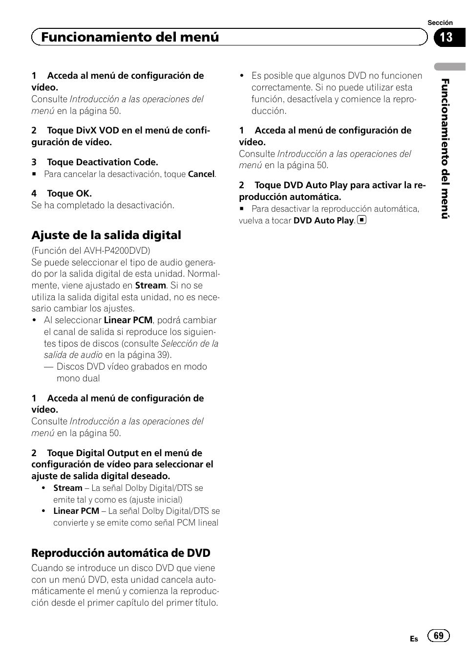 Funcionamiento Del Men Ajuste De La Salida Digital Reproduccin Avh 3200bt Automtica Dvd Pioneer