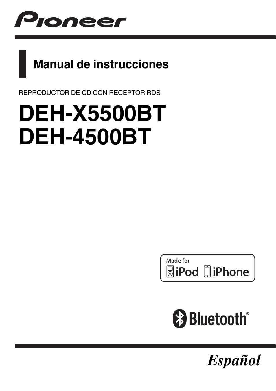 pioneer deh 4500bt manual del usuario p u00e1ginas 36 tambi u00e9n para deh x5500bt
