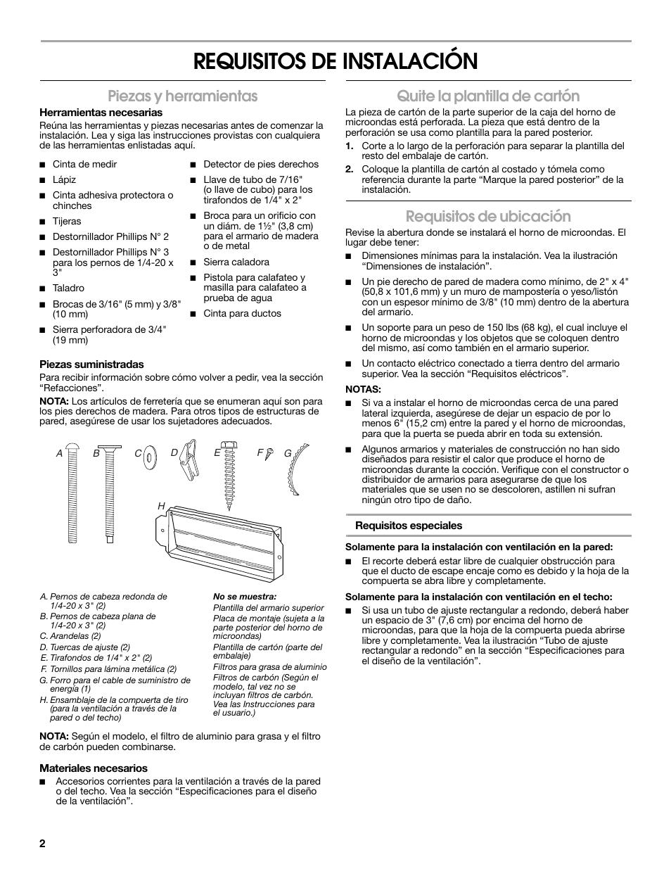 Requisitos de instalación, Piezas y herramientas, Quite la ...
