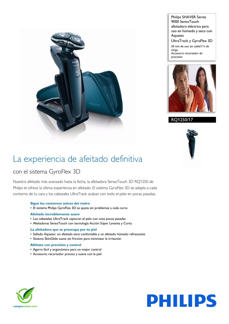 Philips SHAVER Series 9000 SensoTouch afeitadora eléctrica en húmedo y seco  Manual del usuario  c79d1d5dd103