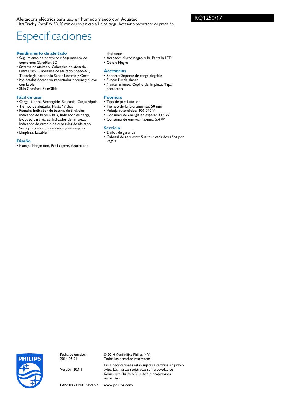 Especificaciones  3f787f2f1a9c
