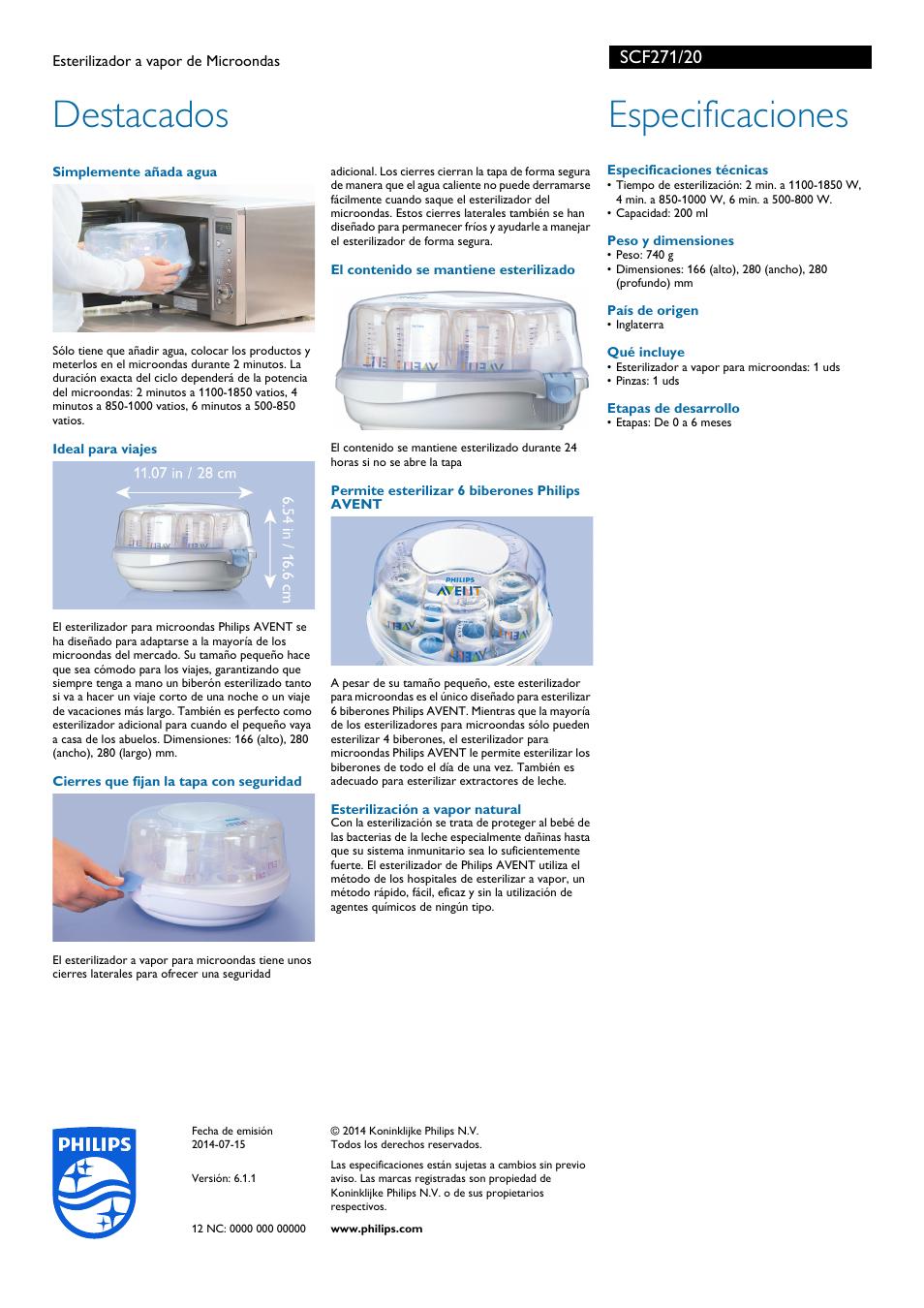 efdc2824b Destacados, Especificaciones | Philips AVENT Esterilizador a vapor de  Microondas Manual del usuario | Página 2 / 2
