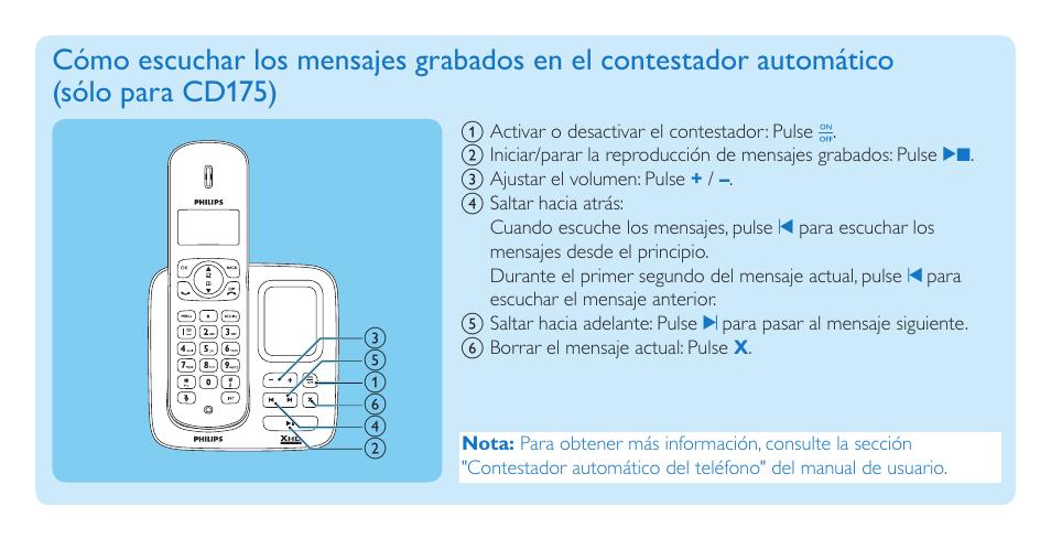 philips cd170 manual del usuario p gina 7 8 tambi n para cd175 rh pdfmanuales com philips cd 170 manual portugues philips cd170 phone manual