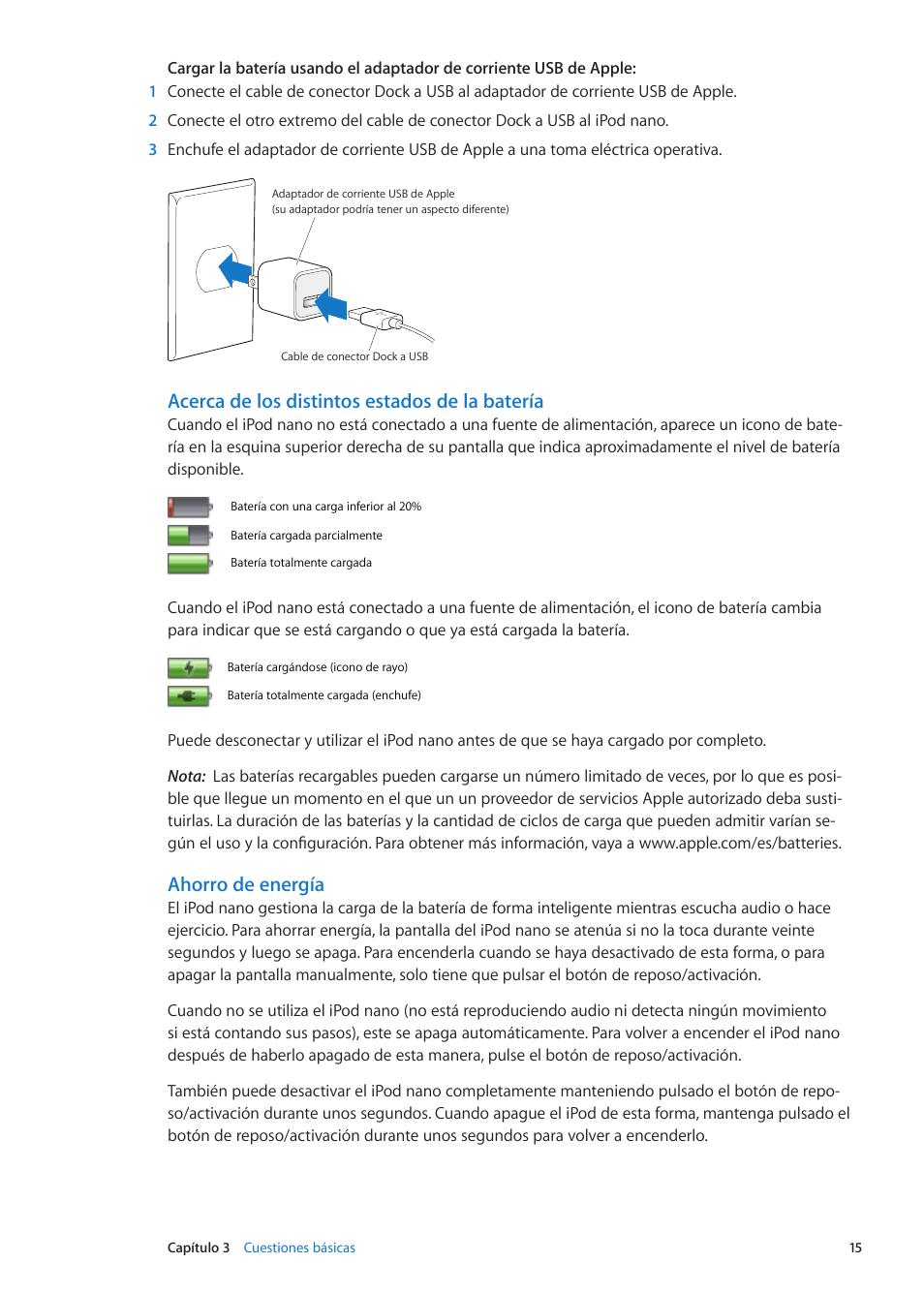 Acerca de los distintos estados de la batería, Ahorro de energía | Apple iPod  nano
