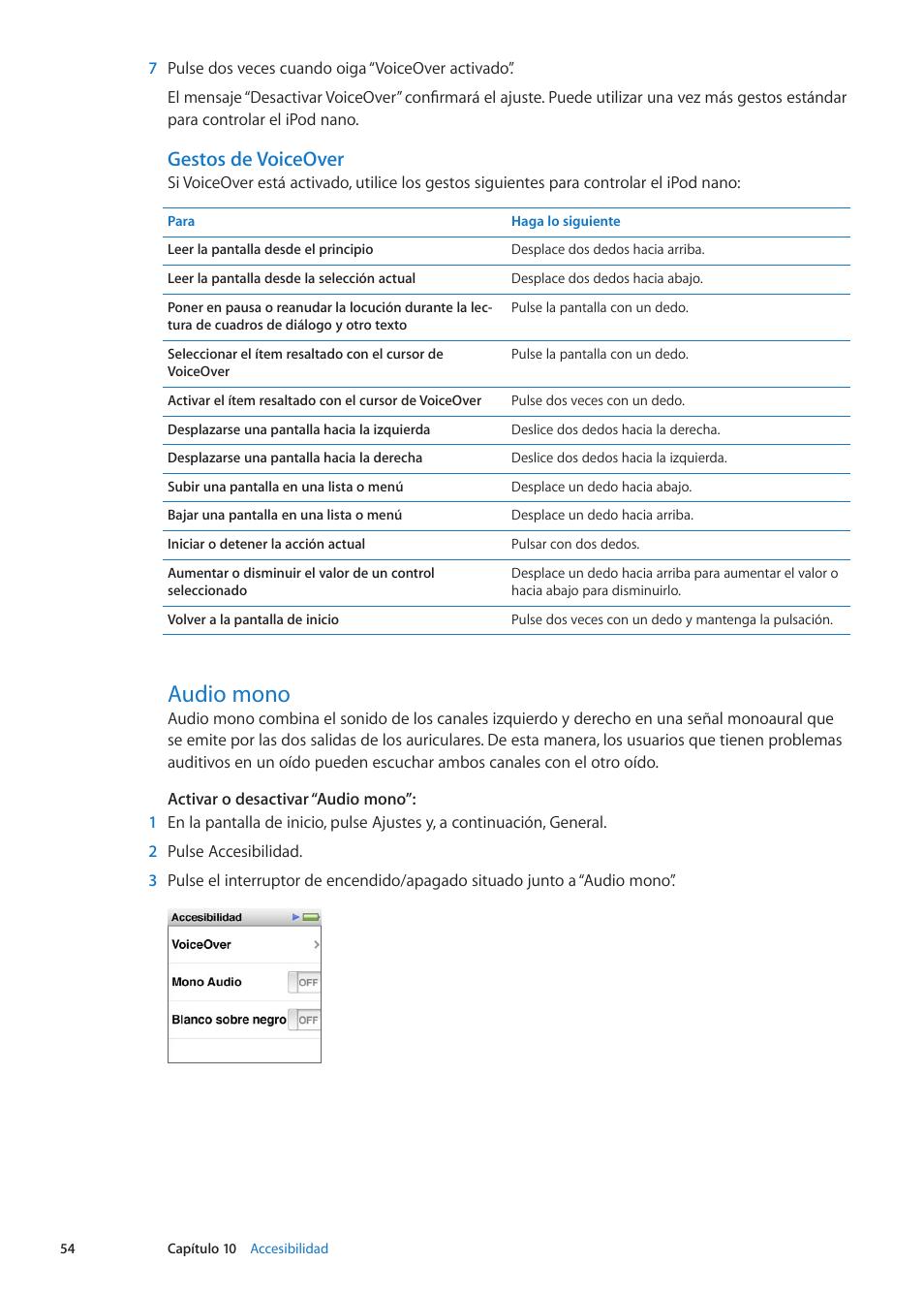 Audio mono, 54 audio mono, Gestos de voiceover | Apple iPod nano (6th