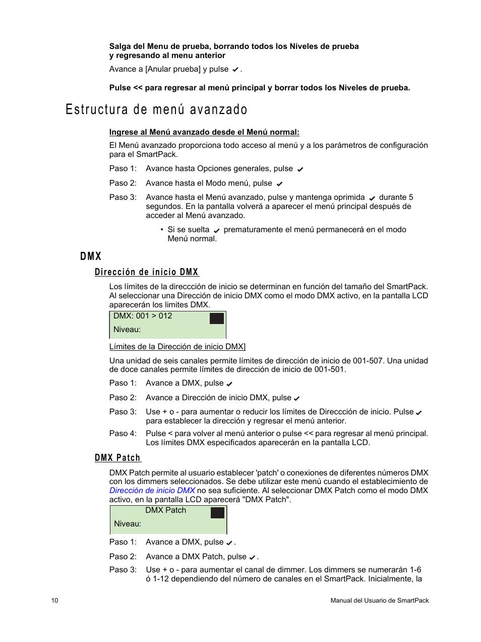 Estructura de menú avanzado, Dirección de inicio dmx, Dmx