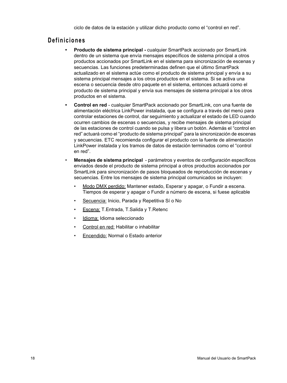 Definiciones | ETC SmartPack v2 0 Manual del usuario