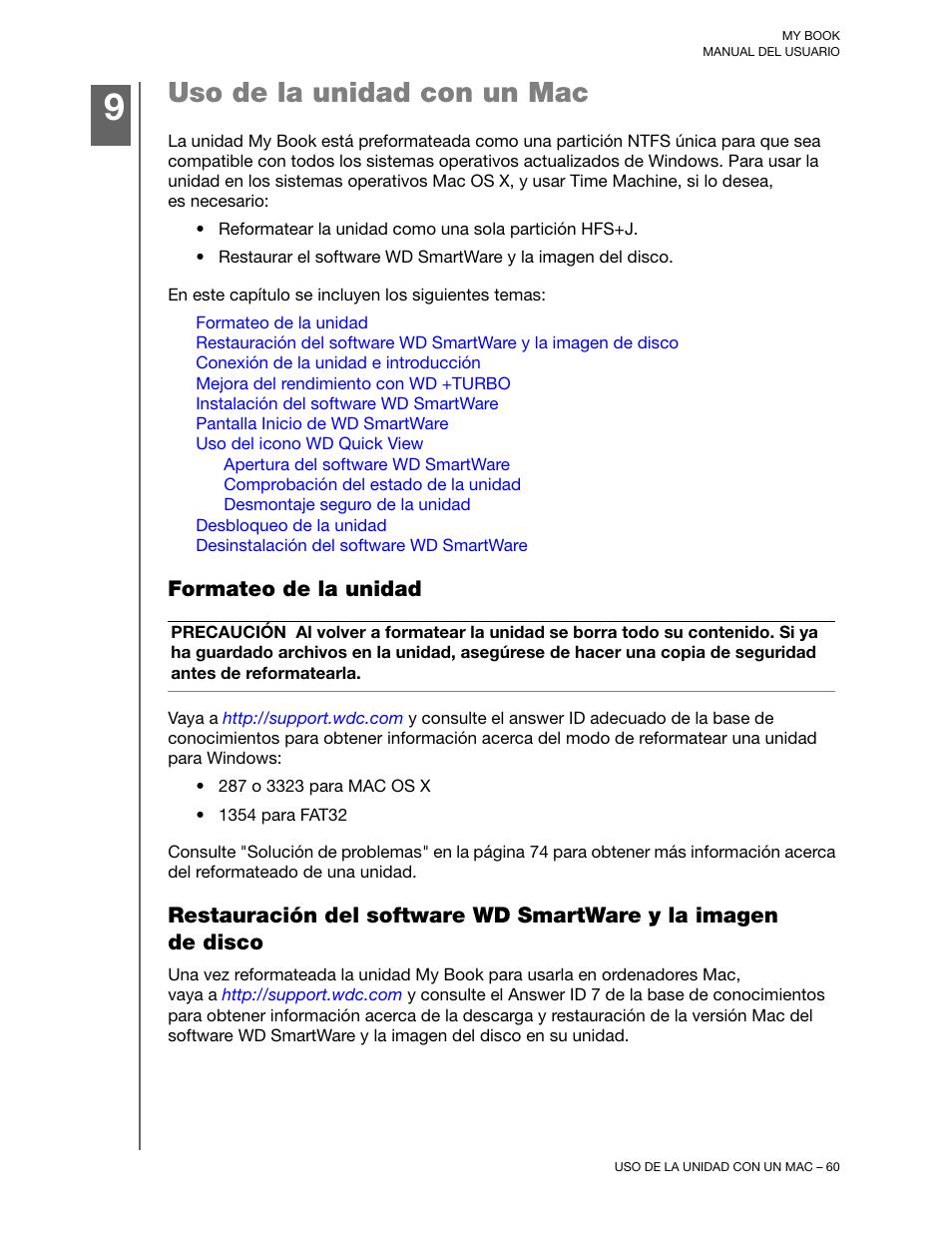 Uso de la unidad con un mac, Formateo de la unidad | Western Digital