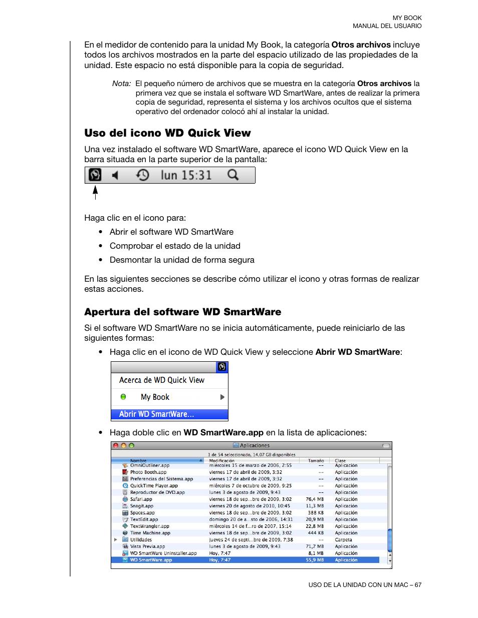 Uso del icono wd quick view, Apertura del software wd