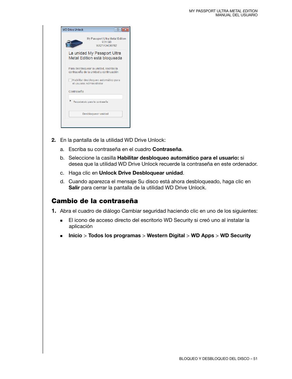 Cambio de la contraseña | Western Digital My Passport Ultra