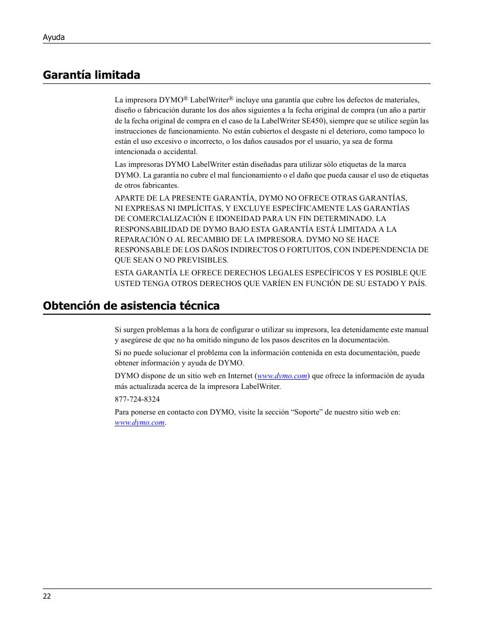 Garantía limitada, Obtención de asistencia técnica | Dymo LabelWriter 450  Turbo Hardware Manual Manual del