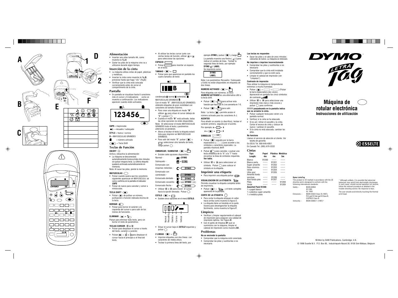 Dymo Letratag 2000 Manual Del Usuario Pginas 1