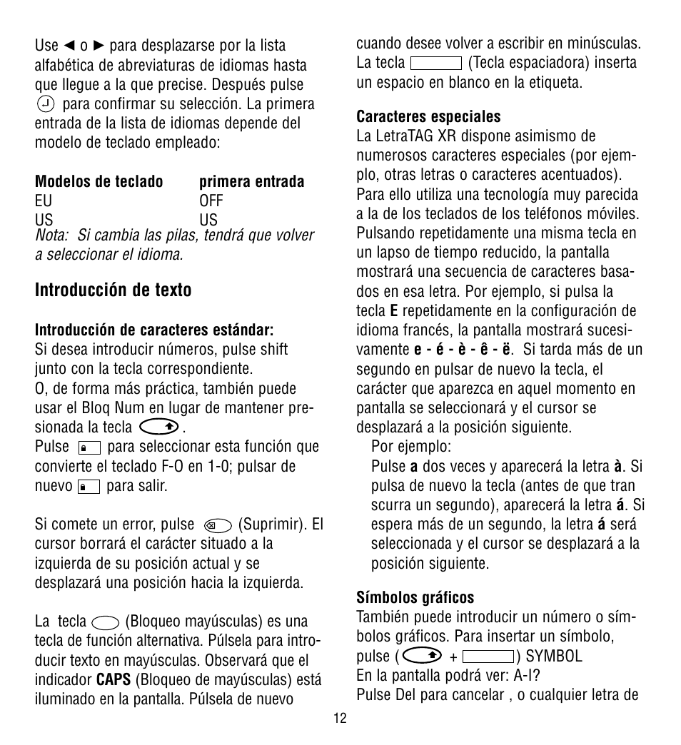 Introduccin De Texto Dymo Letratag Xr Manual Del Usuario Pgina