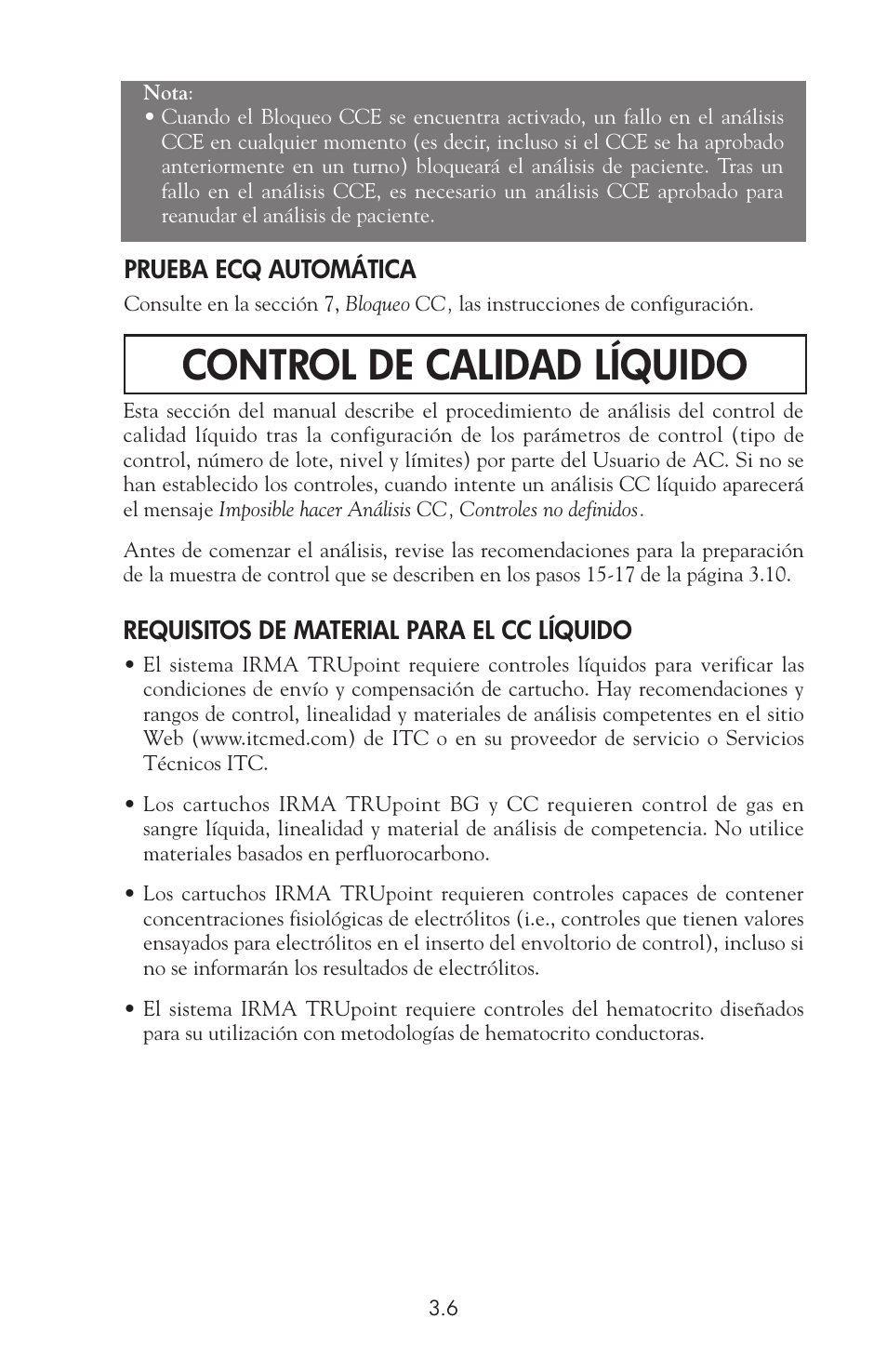 Control de calidad líquido | ITC IRMA TruPoint Blood Analysis ...