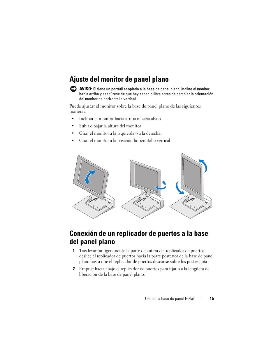 Ajuste del monitor de panel plano | Dell E-Flat Panel Stand Manual del  usuario | Página 15 / 22