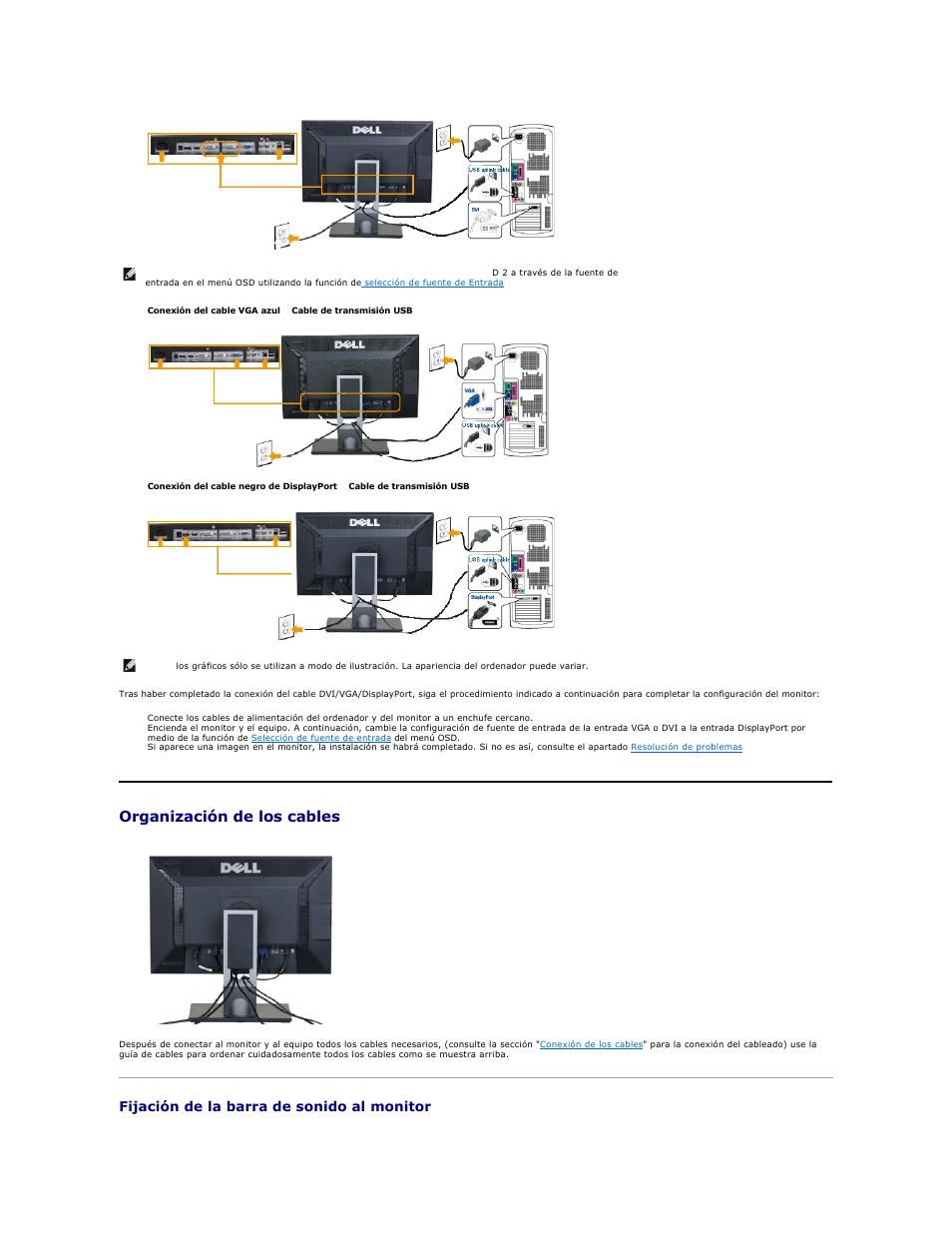 organizaci n de los cables fijaci n de la barra de sonido al rh pdfmanuales com Dell U2412 Inputs Dell U2410