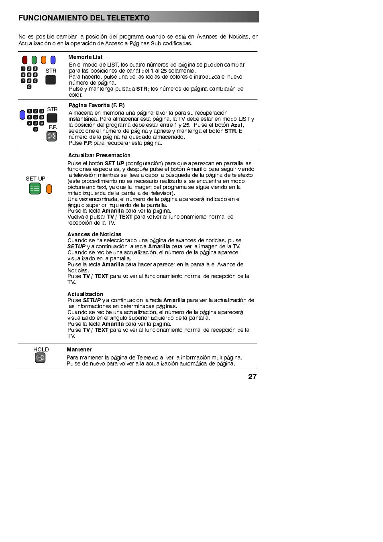 Funcionamiento del teletexto | Panasonic TX32PX10F Manual del ...