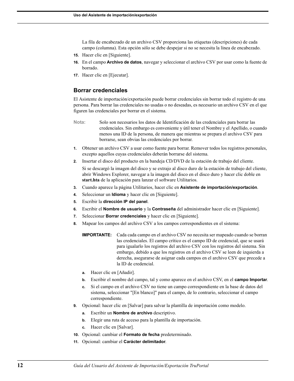 Borrar credenciales | Interlogix TruPortal User Guide Manual del ...