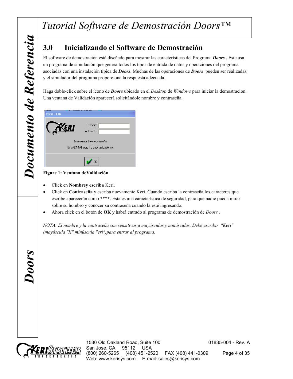 Documento de re ferencia doors Tutorial software de demostración doors | Keri Systems Doors Manual
