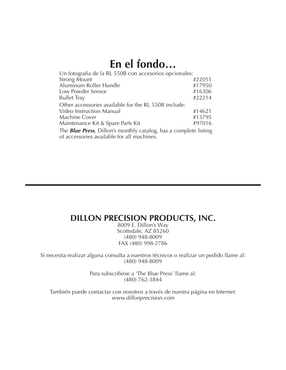 En el fondo, Dillon precision products, inc | Dillon