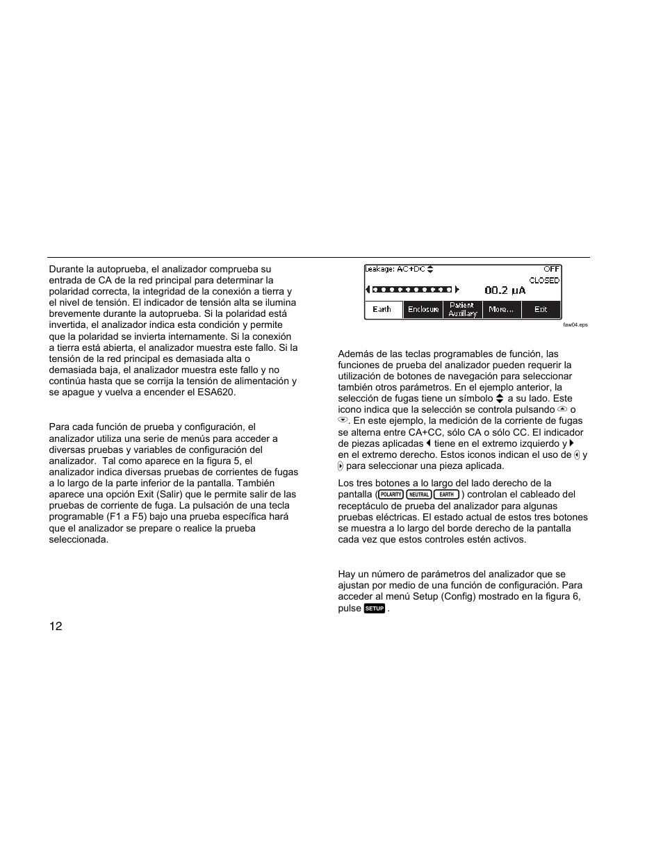 Acceso a las funciones del analizador, Configuración del