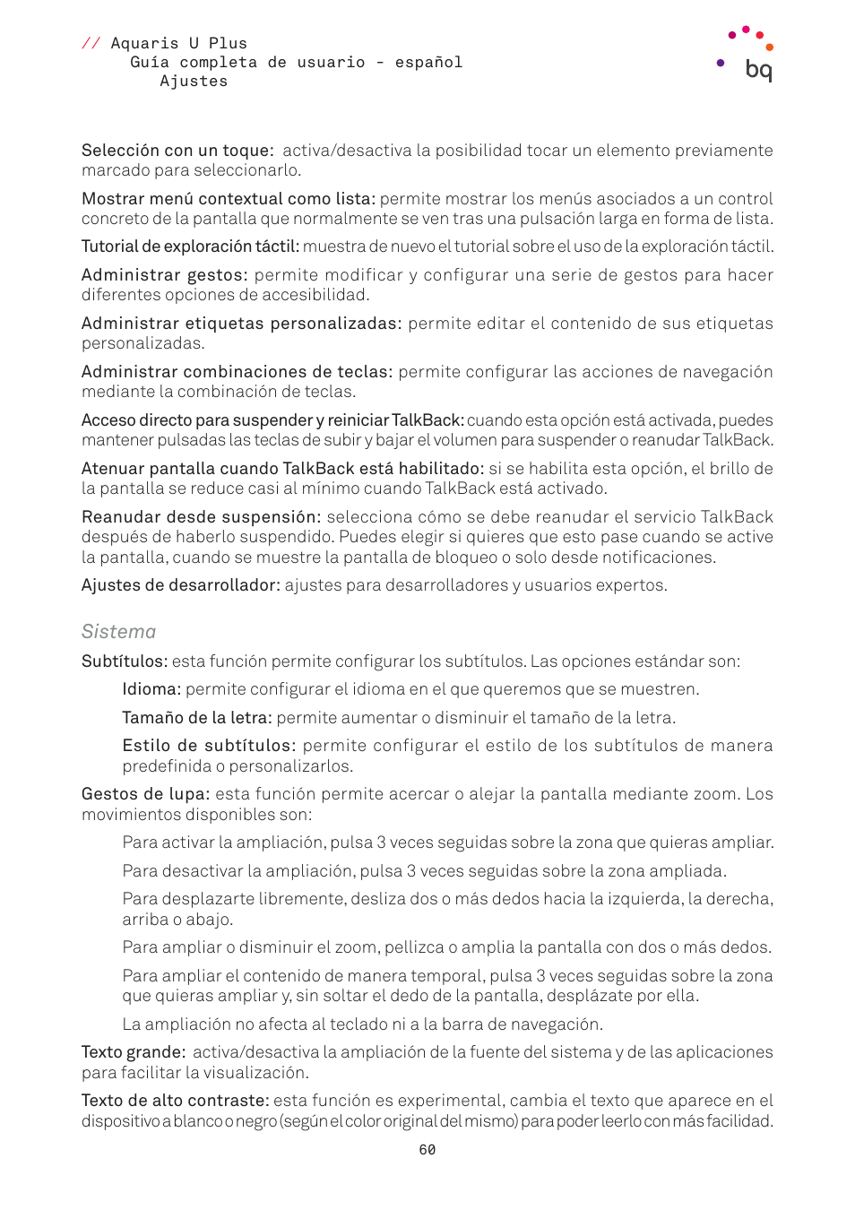 Sistema   BQ Aquaris U Plus Manual del usuario   Página 60 / 87
