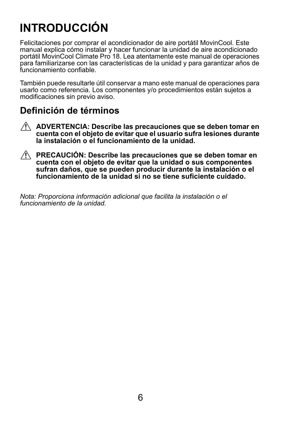 introducci n definici n de t rminos movincool climate pro 18 rh pdfmanuales com manual de usuario de un programa definicion definicion de manual de usuario segun autores
