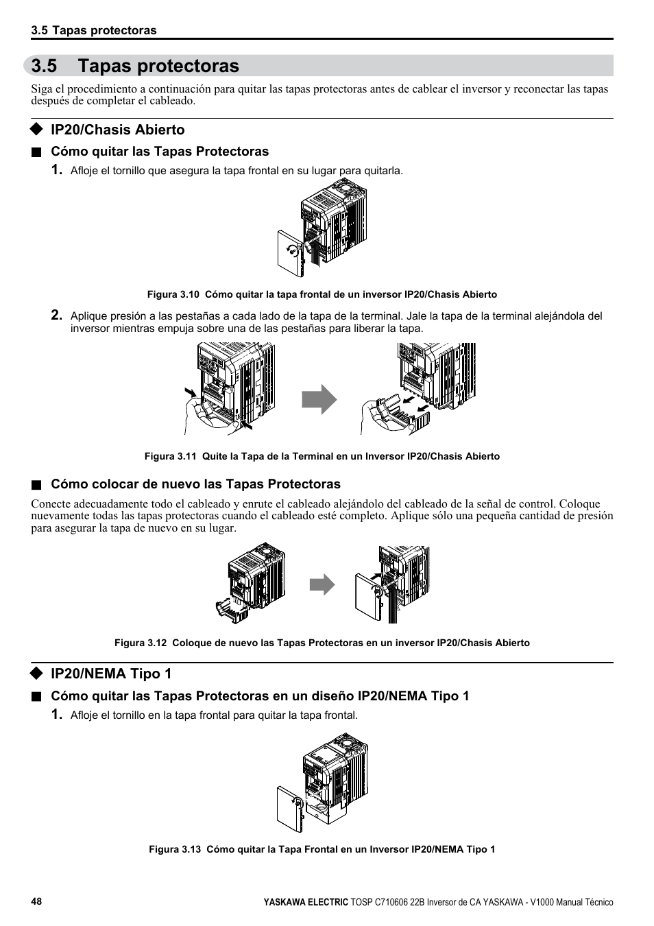 Tapas protectoras, Ip20/chasis abierto, Ip20/nema tipo 1