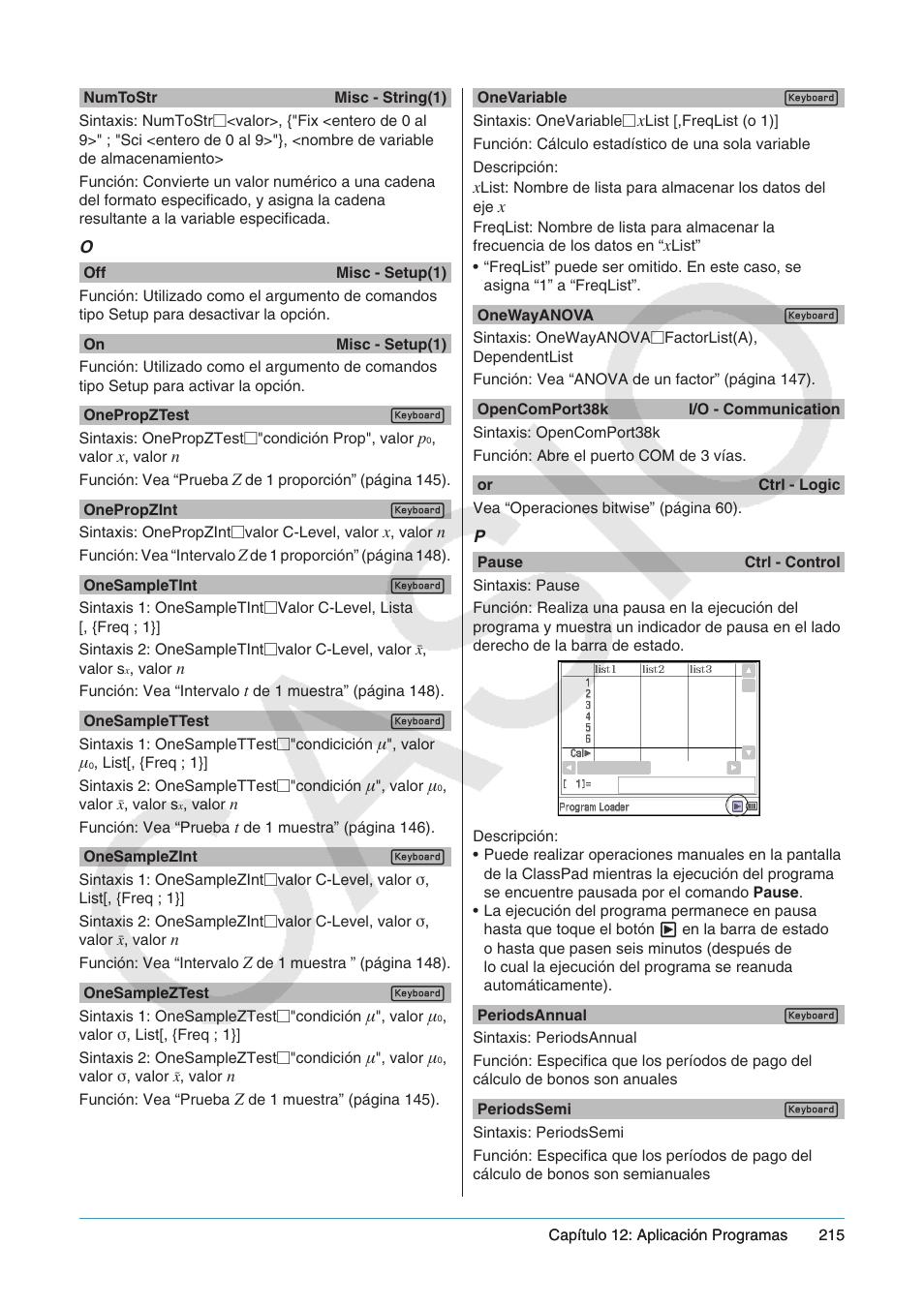 Casio ClassPad fx-CP400 Manual del usuario | Página 215 / 287 | Original