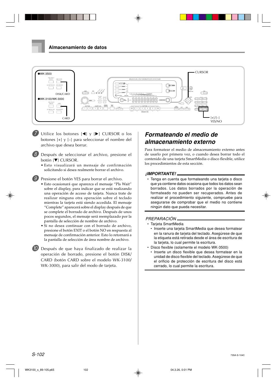 formateando el medio de almacenamiento externo casio wk 3000 rh pdfmanuales com casio wk 3000 user manual casio ctk 3000 manual
