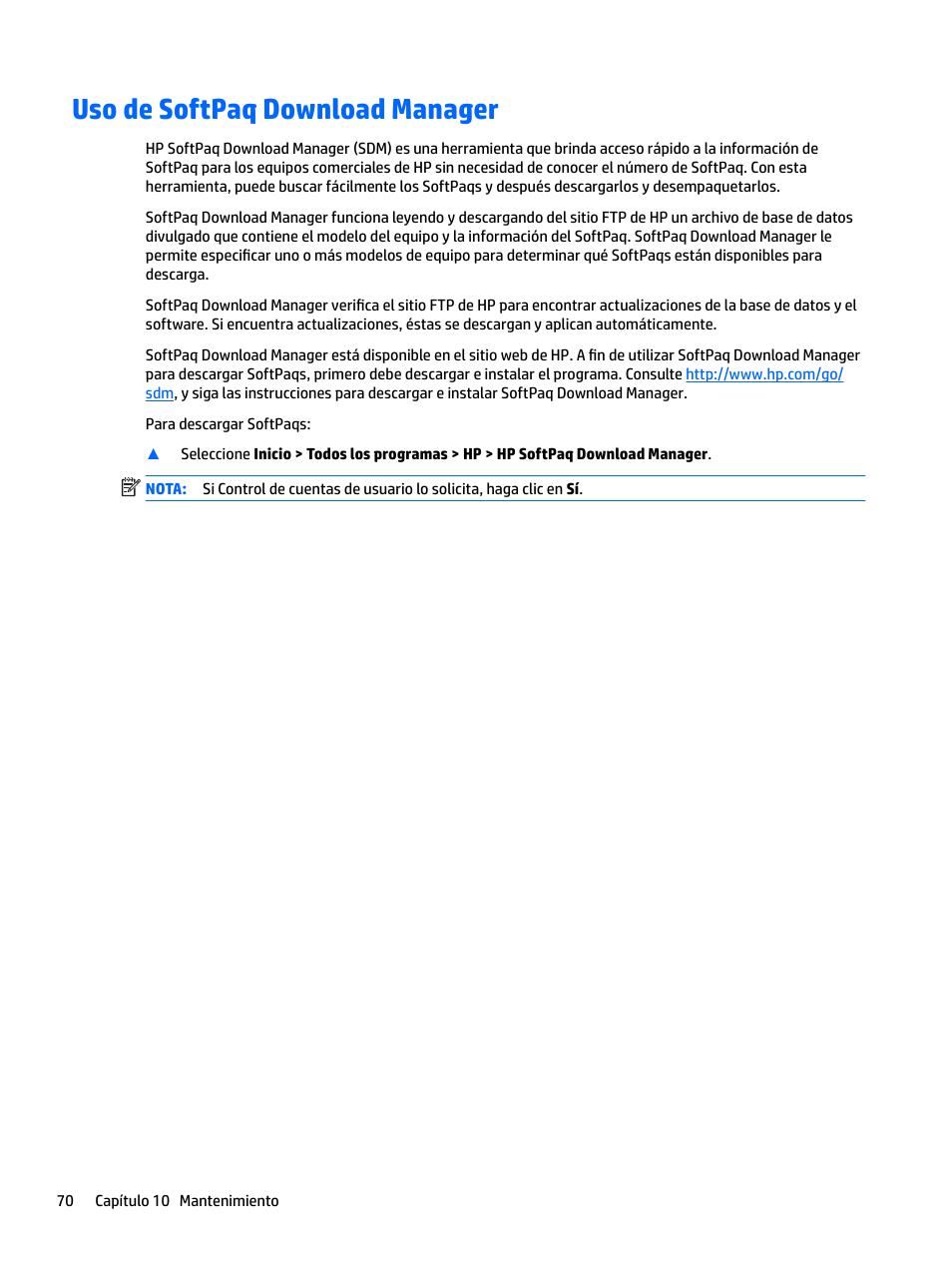 Uso de softpaq download manager | HP EliteBook 840 G3 Manual del
