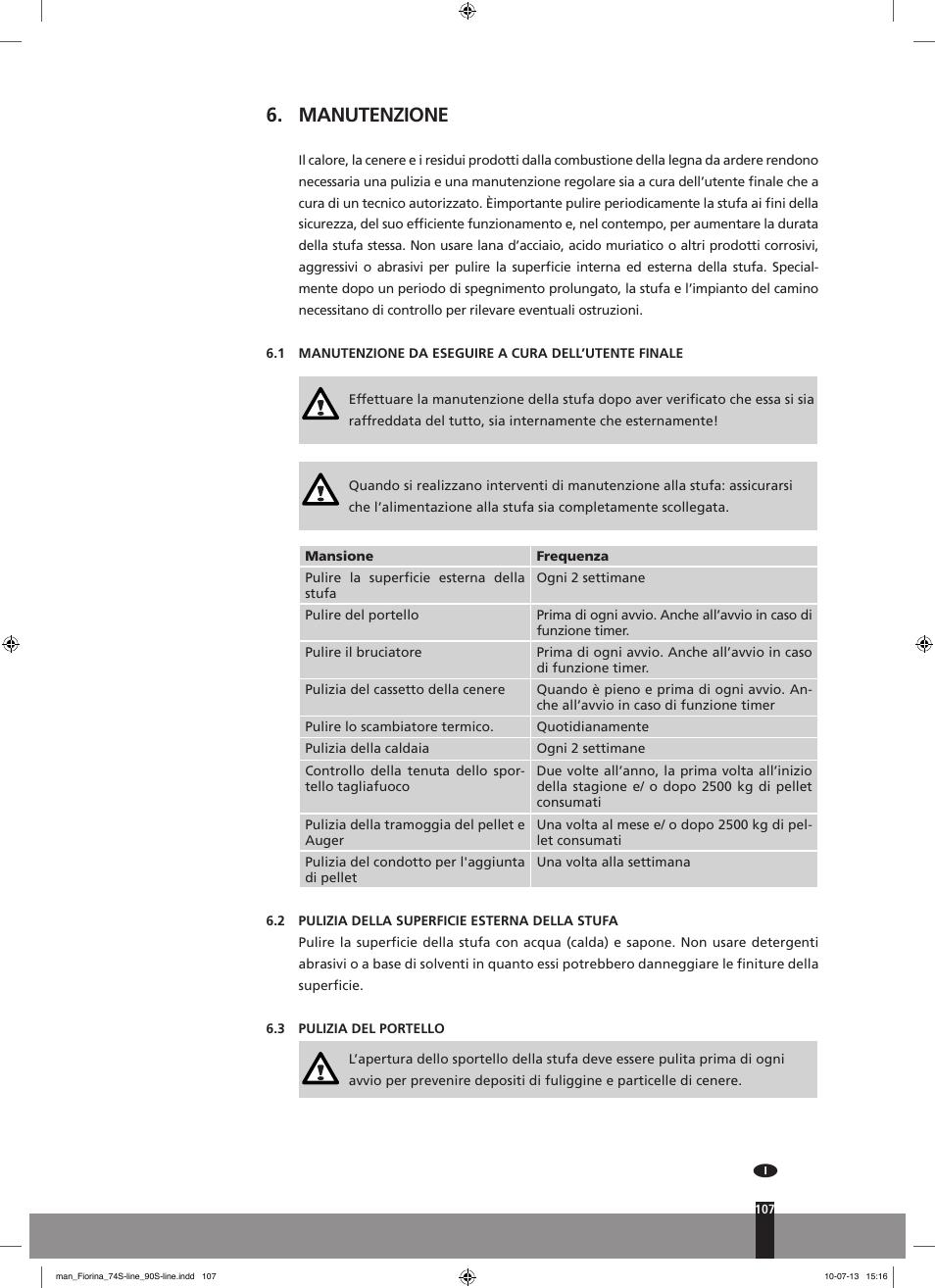 Manutenzione Qlima Fiorina 74 S Line Grey Manual Del Usuario