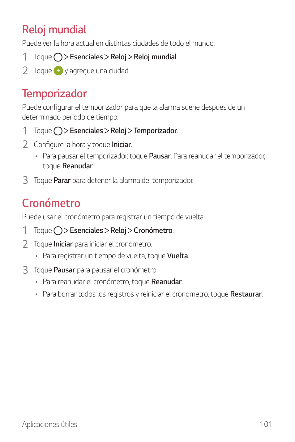 Reloj mundial, Temporizador, Cronómetro | LG G6 H872 Manual del ...