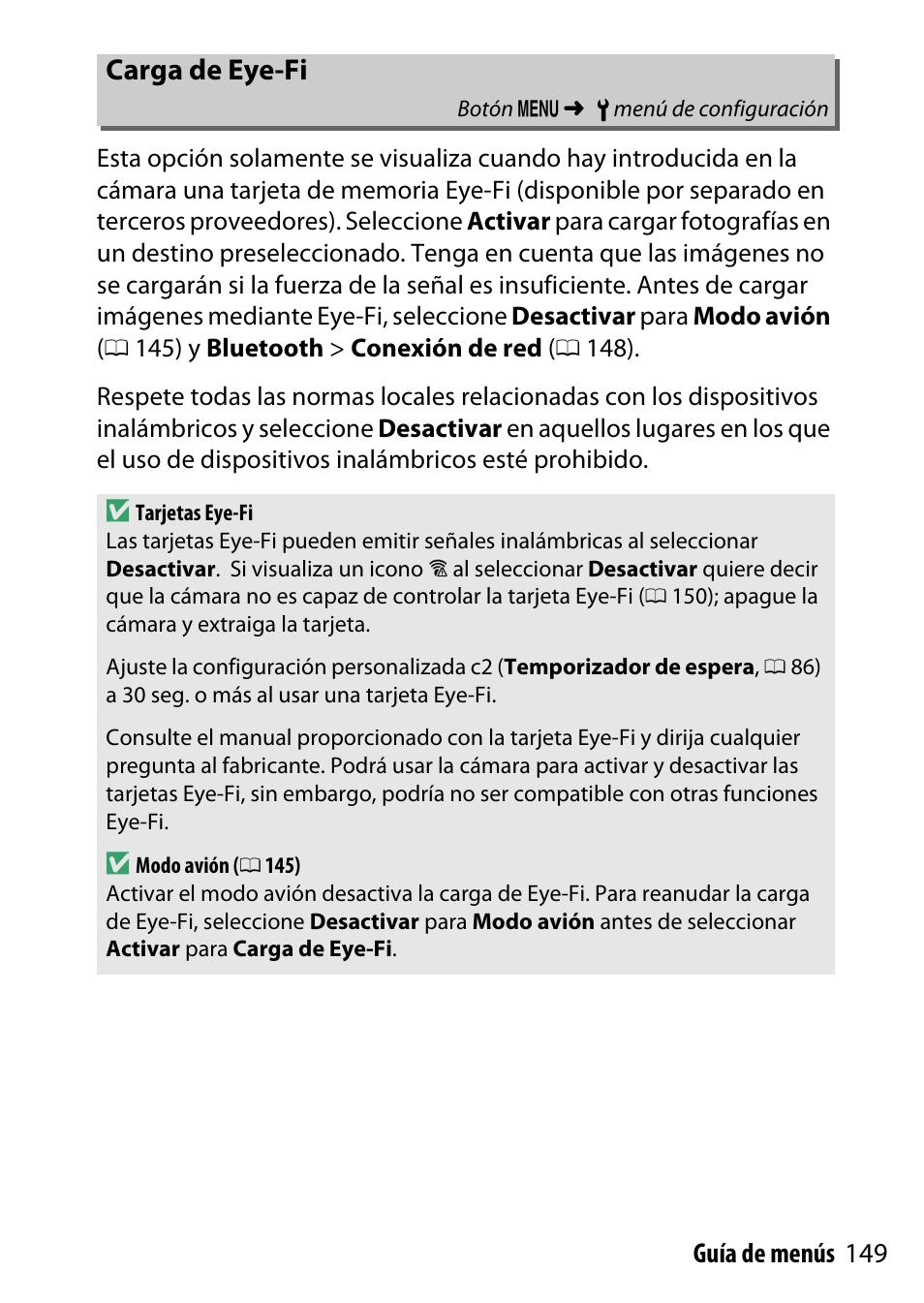 Carga de eye-fi, 149 guía de menús | Nikon D500 Manual del usuario ...